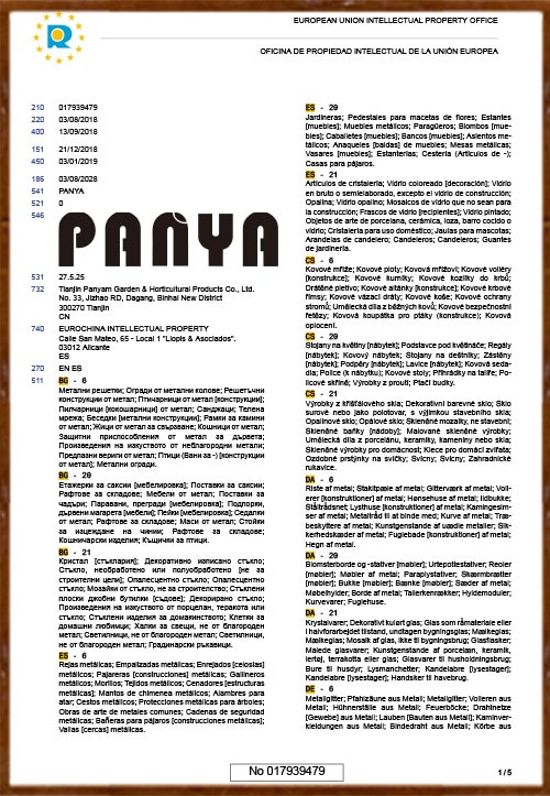 PANYA EU certificate